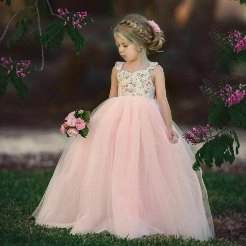 USA Princess Dress Flower Solid Baby Lace Party Formal Dresses