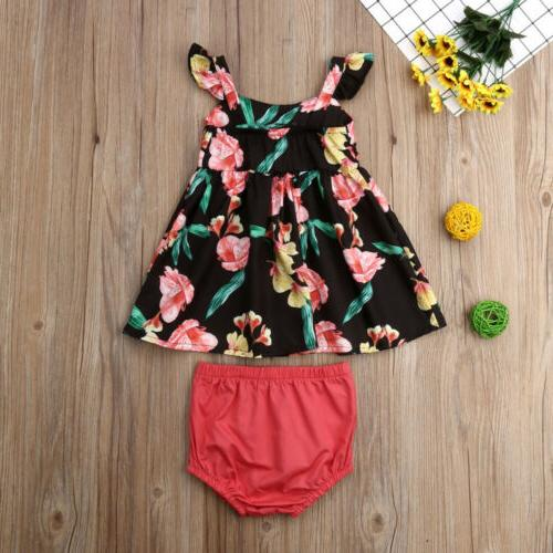 US Baby Summer Clothes Flower Tops Dress Outfits