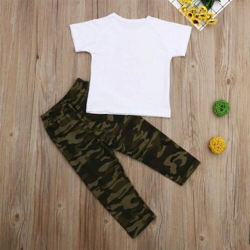 US 2PCS Toddler Baby Girl Boys Tops Camouflage Long Clothes