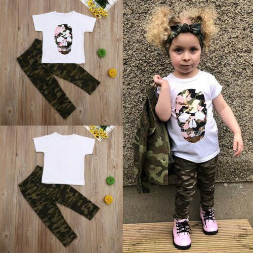 US 2PCS Toddler Girl Camouflage Clothes
