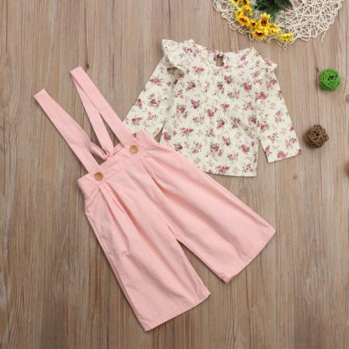 US 2PCS Toddler Kids Baby Girl Winter Floral Overall
