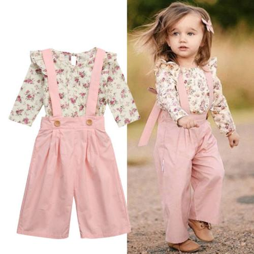 US 2PCS Toddler Kids Baby Floral Overall