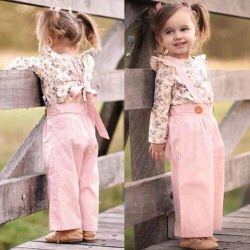 US Toddler Baby Winter Floral Overall