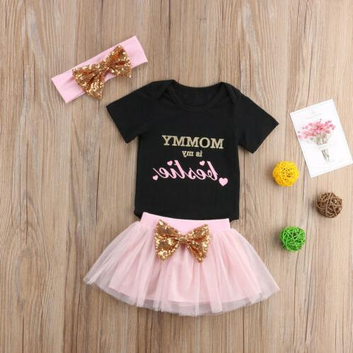 US Baby Girl Clothes Skirt+Headband Outfit Set