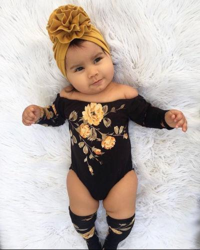 US Baby Girl Off Shoulder Flower Romper+Leg Warmers Outfits Clothes