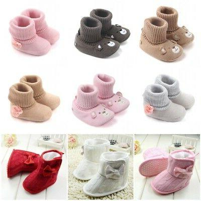 US Baby Girl Knit Flower Warm Boots Booties Infant Toddler N