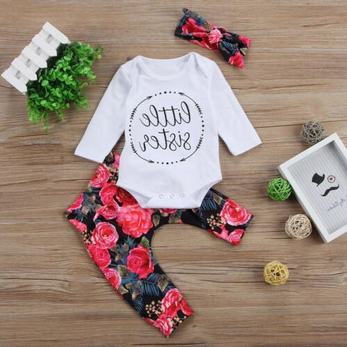 US Baby Girls Sister Bodysuit Tops Floral Pants Bowknot Outfits