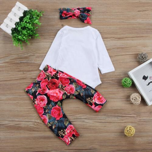 US Girls Sister Bodysuit Tops Floral Pants Bowknot Headband Outfits