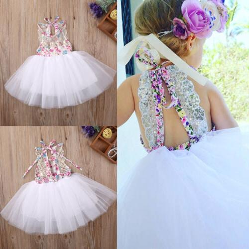 US Baby Kids Girls Party Dresses Tulle Tutu Lace Floral Dres