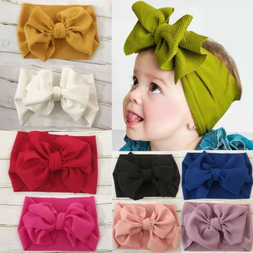 US Stock Baby Toddler Kids Girls Bow Hairband Turban Knot Cu