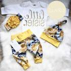 US Flower Newborn Baby Girl Little Sister Tops Romper Pants