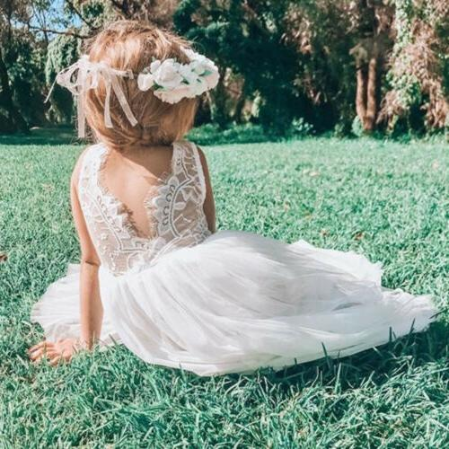 US Flower Girl Dress Lace Tulle Party Bridesmaid Sundress