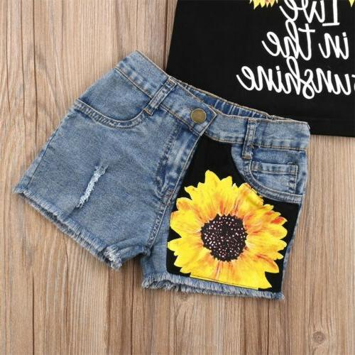 US Kids Girl Clothes Bodysuit+Short Pants