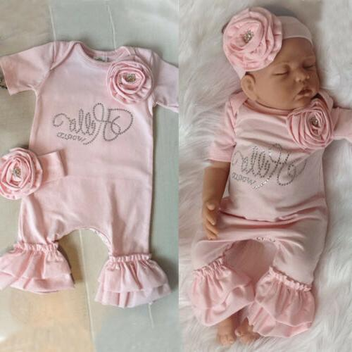 US Baby 3D Romper Jumpsuit Headband Outfit