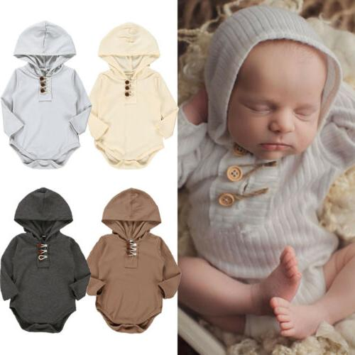 US Baby Girl Boy Sleeve One-Pieces Romper Outfits
