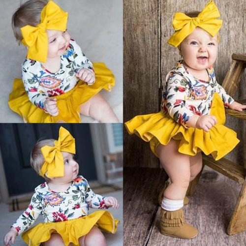 US Newborn Baby Girl Floral Romper Top+Tutu Shorts Dress Hea
