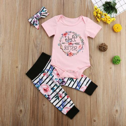 US Newborn Infant Girl Outfit Romper Tops+Pants+Headband