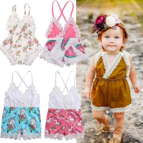 US Canis Newborn Baby Girl Lace Romper