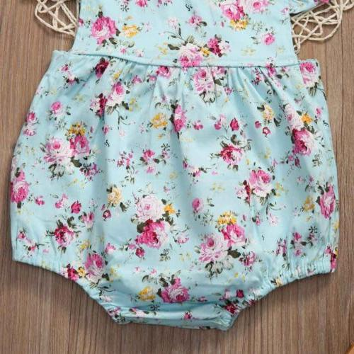 US Newborn Girl Romper Floral Summer Clothes Outfits
