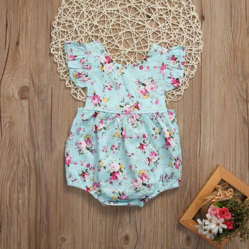 US Newborn Baby Romper Floral Bodysuit Summer Clothes Outfits