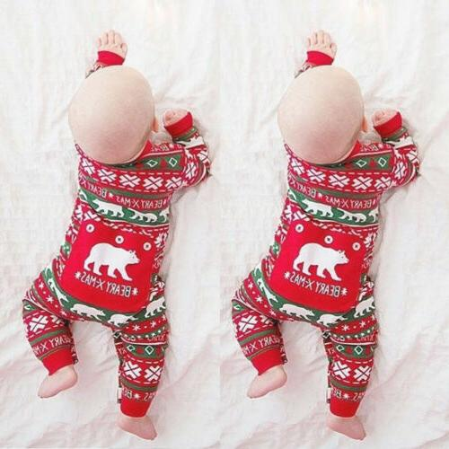 USStock Newborn Kids Baby Boy Girl Christmas Romper Bodysuit