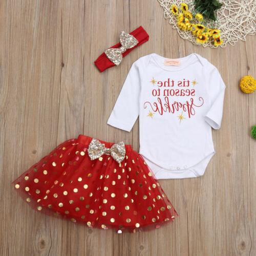 US Infant Baby Girl Christmas Clothes Romper Skirt Tutu Outfit Set