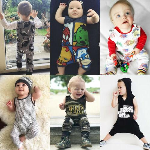Newborn Infant Kid Baby Boy Girl Romper Jumpsuit Clothes