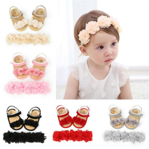 Newborn Kid Baby Girl Flower Sandals Casual Crib Shoes First