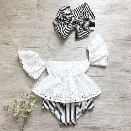 USA Newborn Baby Girl Off Shoulder Lace Top Striped Shorts O