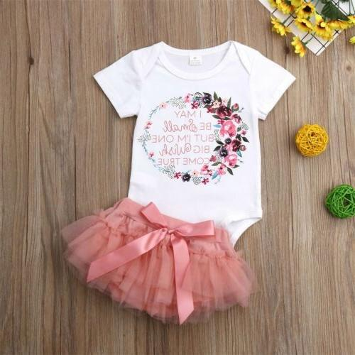 US Newborn Kids Baby Girl Outfits Clothes Romper Bodysuit+Tutu