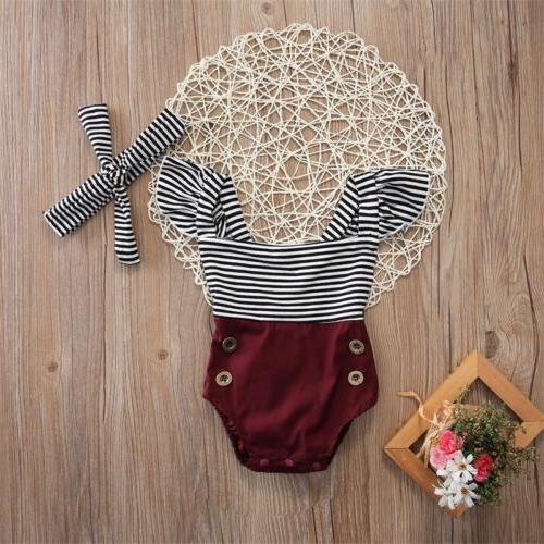 US Girl Clothes Romper Bodysuit+Headband Sunsuit