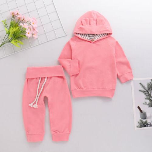 US Newborn Baby Girl Clothes Hoodie Set