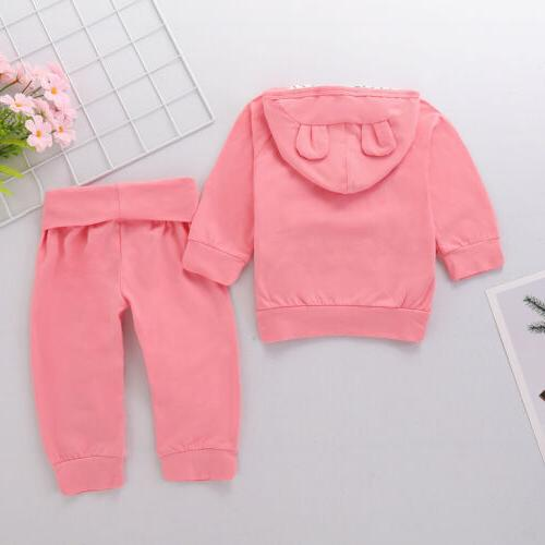 US Newborn Toddler Baby Girl Winter Outfits Clothes Tops+Pants