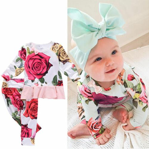 US Baby T-shirts+Floral Pants 2PCS