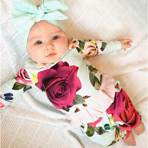 US Newborn Kids Baby Outfit Clothes T-shirts+Floral Set
