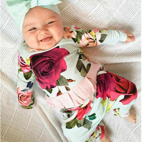 US Newborn Toddler Baby Girl Outfit Clothes T-shirts+Floral Pants Set