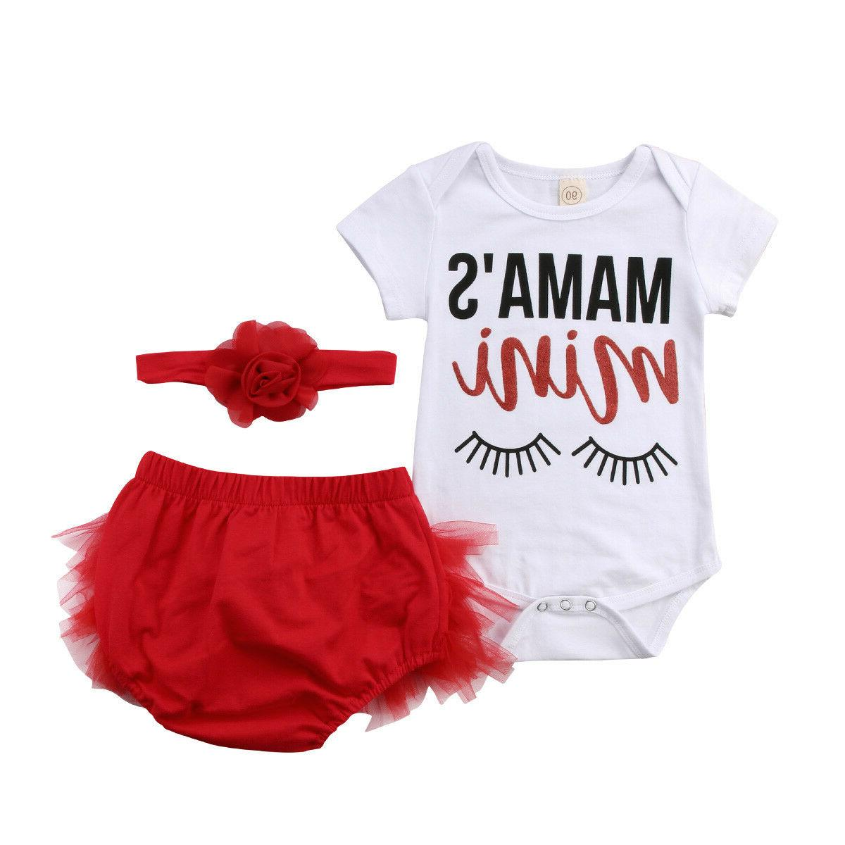 US STOCK 3pcs Infant Baby Girl Outfits Set