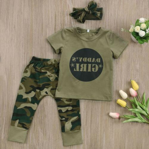 US Stock Boy Girl Camo Tops Pants Outfits Clothes 0-24M