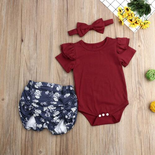 US Newborn Baby Floral Tops Romper+Short Pants