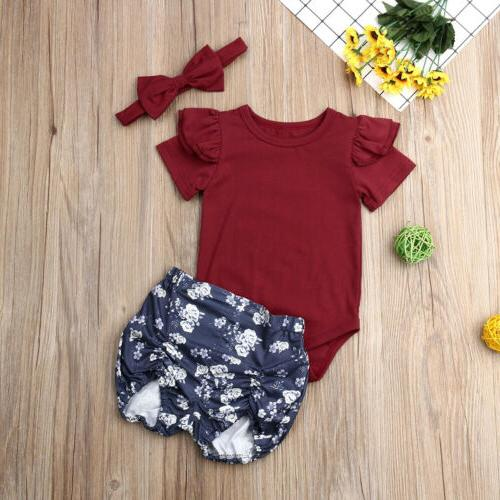 US Stock Newborn Infant Baby Floral Tops Romper+Short