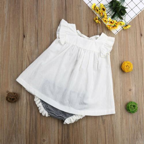 US Newborn Baby Girl Clothes Dress+Shorts Outfits