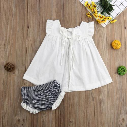 US Summer Newborn Baby Girl Princess Tops Dress+Shorts Set 0-24M