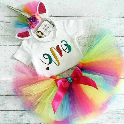 US 1st Birthday Unicorn Romper Skirt Outfit