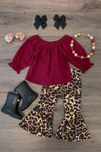 US Kid Baby Girl Long Sleeve Tops T-shirt+Leopard Flared Pan