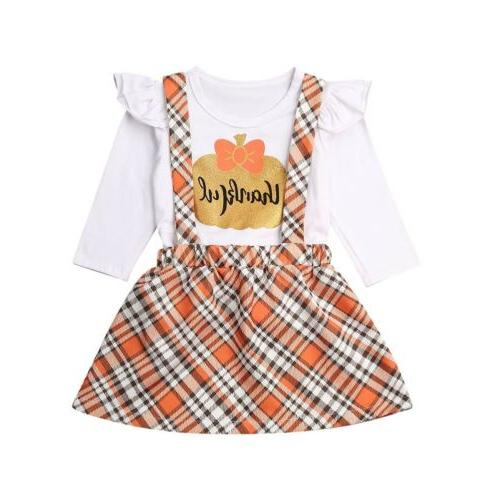 US Baby Girl Pumpkin Top Strap Skirt Casual Outfit