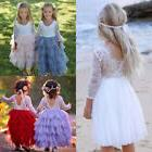 US Toddler Kid Baby Girl Lace Tulle Backless Party Bridesmai