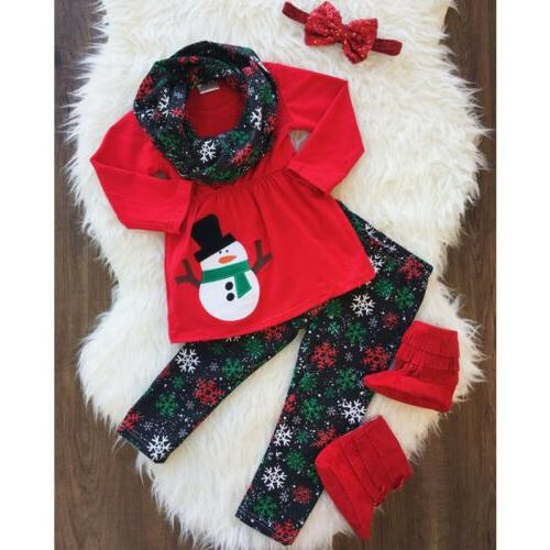 US Toddler Kid Baby Girl Xmas Snowman Clothes Outfits Tops S