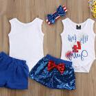 USA 4th of July Baby Girl 1st Independence Day Flag Romper P