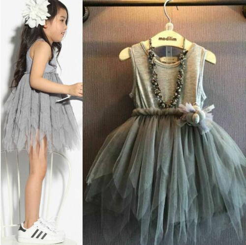 USA Baby Girl Princess Dress Pageant Lace Tulle Dresses