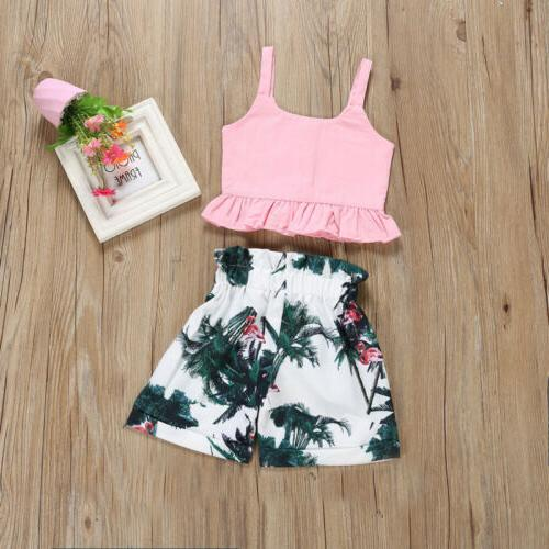 USA Flamingo Toddler Baby Girl Vest Crop Short Summer